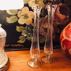 Vtg pr clear handblown pedestal glass bud vases